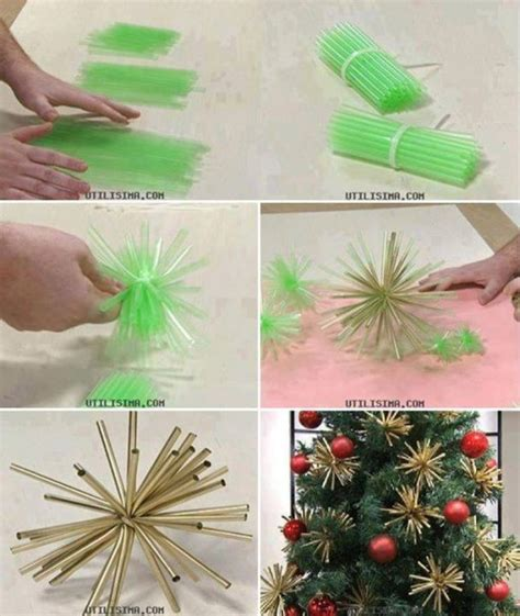 step by step how to make christmas decor how to make beautiful tree ornament decorations with straws step by step diy tutorial