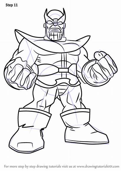 Thanos Draw Super Hero Squad Drawing Step