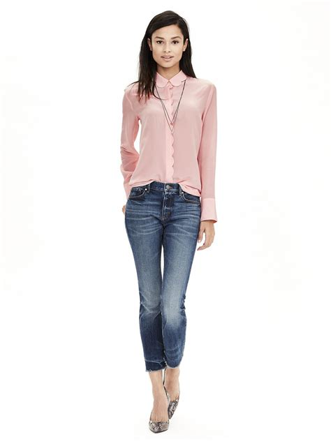banana republic silk blouse banana republic scalloped pink silk blouse in pink pink