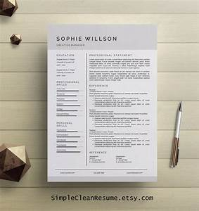 Simple Resume Template Clean Cv Design Cover Letter Ms