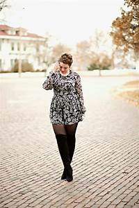 Floral Romper with tights for winter // The Adored Life | Plus Size fashion | Pinterest ...