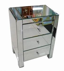 Mirrored side tables with drawers, mirrored console table