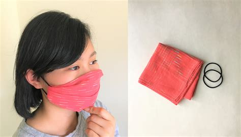 sew pleated face mask  handkerchief  hair tie