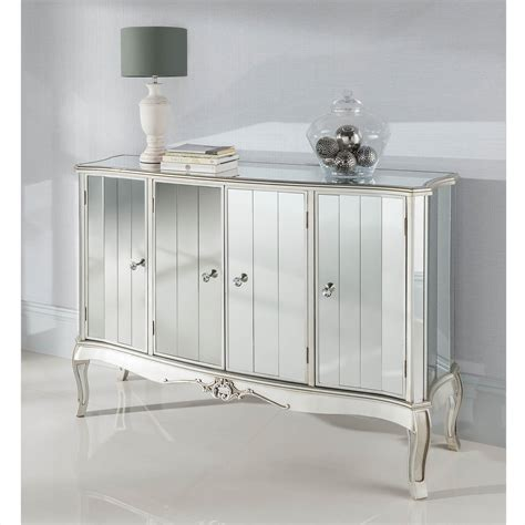 Mirrored Sideboard Furniture by Argente Mirrored Four Door Sideboard Mirrored Furniture