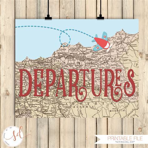 Vintage Airplanes Party Sign Departures Sign Around The