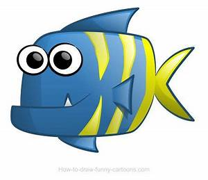 Cute cartoon fish with colorful stripes and a tiny ...