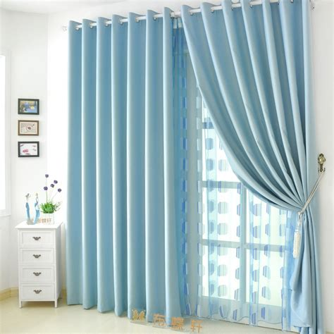 blue colored hotel style curtains for home of polyester