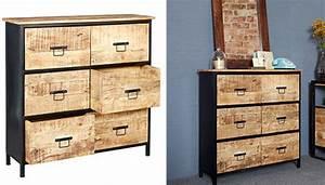 Commode Vintage Pas Cher : commode onawa 6 tiroirs style industriel vintage pas cher ~ Teatrodelosmanantiales.com Idées de Décoration