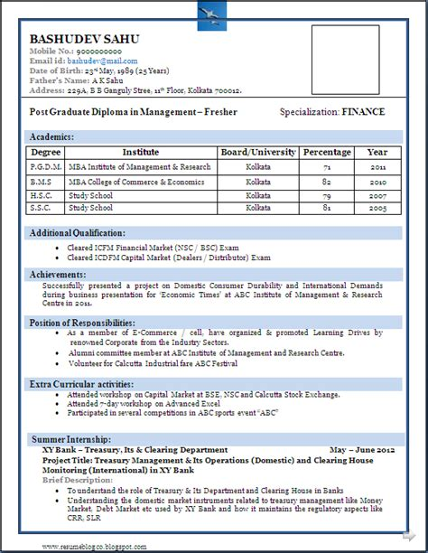 Best Resume Exle For Freshers best resume format for freshers niveresume resume