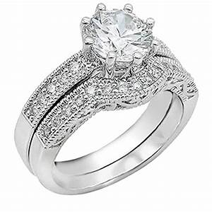 women39s cubic zirconia round brilliant cut sterling silver With wedding ring for women