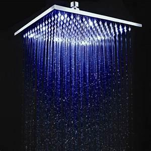 Bathroom 12 Inch Brass Square LED Rain Shower Head Set ...