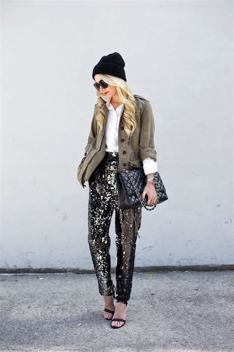 pants sequins sequin jacket wear casual glitter outfits dress atlantic pacific pajama outfit down saucy stuart weitzman sparkle looks lately