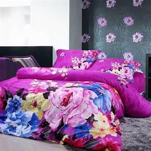 idee deco chambre de fille ado literie a motifs floraux With tapis chambre bébé avec beau bouquet de fleurs