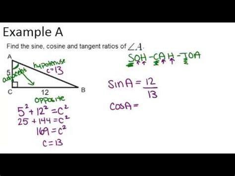 Sine Cosine Tangent Examples (geometry Concepts) Youtube