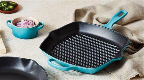 le creuset signature cast iron square skillet grill  indigo cutlery