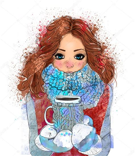Mujer tomando cafe dibujo a lapiz chica linda de