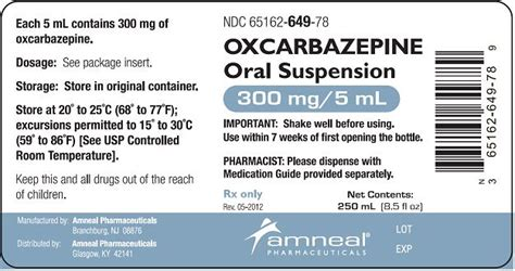 oxcarbazepine amneal pharmaceuticals fda package insert