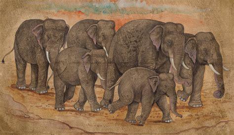 Indian Elephant Painting Handmade Nature Wild Life Animal