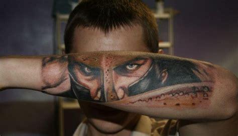 realistic soldier face tattoo  arm tattoomagz