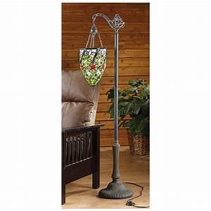 Castlecreekr tiffany style side arm floor lamp 301223 for Tiffany style floor lamp with side light