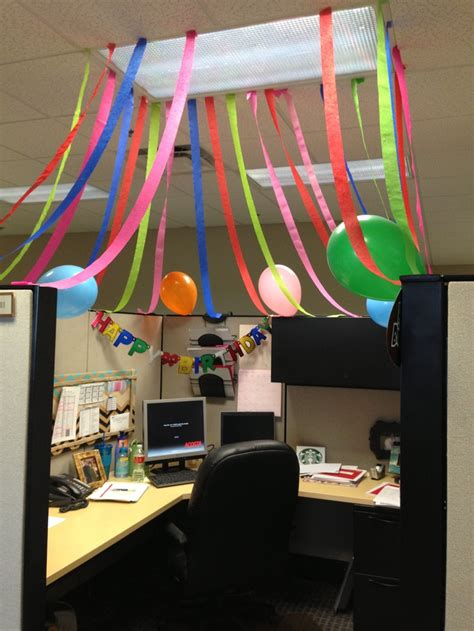 decoration bureau office cube birthday celebration my diy