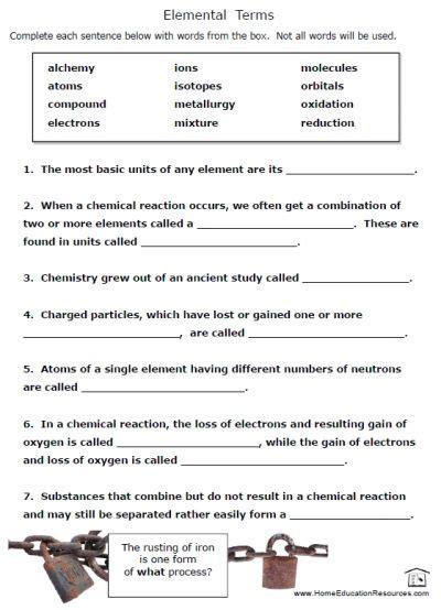 Free Printable Chemistry Worksheets #1  Waldorf Steiner Chemistry  Pinterest Chemistry