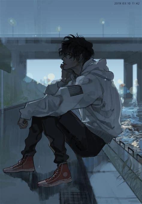 blue sad anime boy aesthetic viral  trend