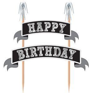 black white happy birthday banner cake topper 9in x 10in party city