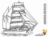 Ship Tall Coloring Pages Ships Sailing Rigged Boats Square Yescoloring Sky Boys Template sketch template
