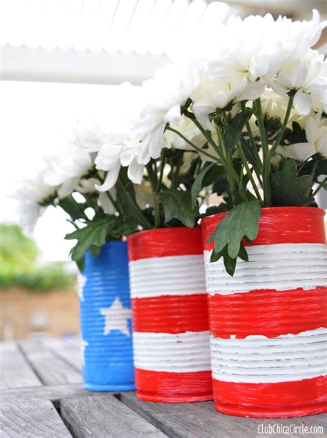 patriotic upcycled  flower pots centerpiece