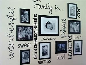 Wall decor and photo frames : Family picture frame wall ideas