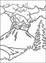 Coloring Volcano Pages Printable sketch template