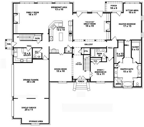 4 bedroom 2 house plans 653752 two 4 bedroom 4 5 bath traditional style house plan house plans floor
