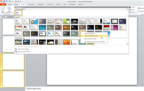 apply  design template powerpoint  software