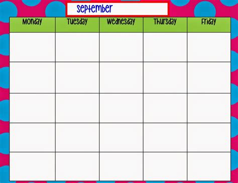 Kindergarten Calendar Template Natashamillerweb