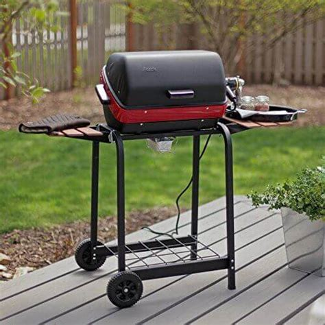 grill side table outdoor meco electric cart grill with two folding composite wood