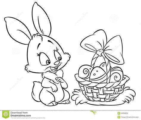 happy easter bunny coloring pages cartoon illustration