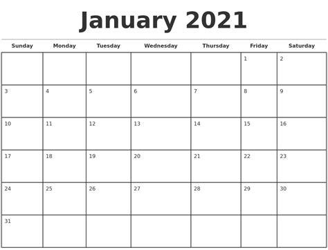 january  monthly calendar template