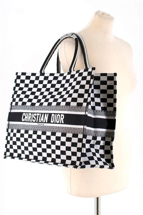 dior embroidered canvas book tote bag  stdibs