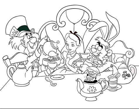 Alice The Mad Hatter And The Hare Leap Coloring Pages