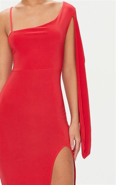 One Shoulder Drape Sleeve Dress - slinky one shoulder drape sleeve midi dress
