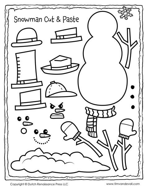 snowman cut and paste activity tim s printables