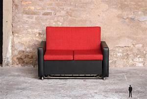 Canapé Convertible Vintage : canap convertible lit vintage tissu rouge et skai noir ~ Teatrodelosmanantiales.com Idées de Décoration