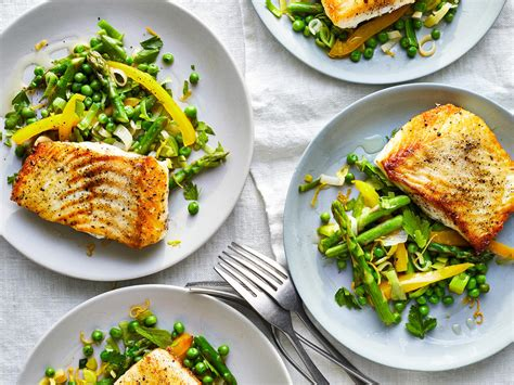 halibut recipes seared vegetables spring recipe cooking
