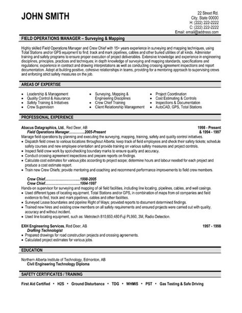field operations manager resume sle template