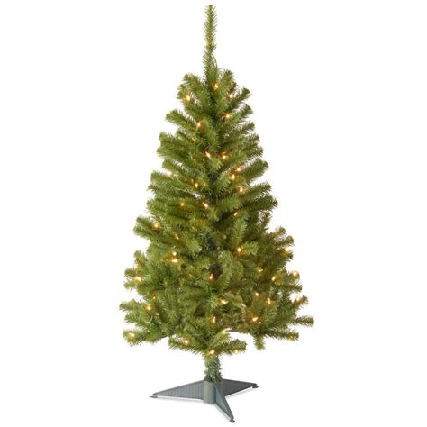 4 foot christmas tree national tree company 4 ft canadian grande fir artificial tree with clear lights cfg7