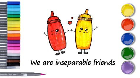 HOW TO DRAW KETCHUP & MUSTARD SAUCE, CUTE & EASY FROM ...