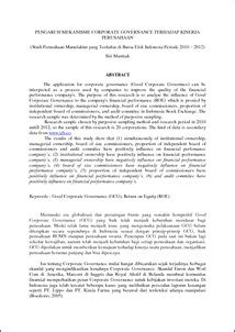 Pengaruh Mekanisme Corporate Governance terhadap Kinerja