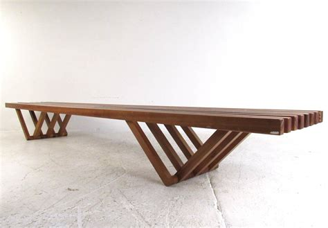 using a bench as a coffee table rare mid century modern slat bench coffee table at 1stdibs