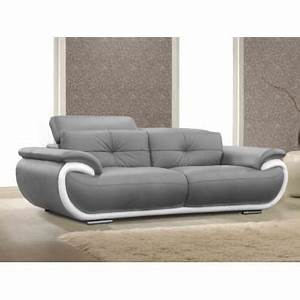 canape 3 places en cuir smiley bicolore gris achat With canape cuir gris 3 places